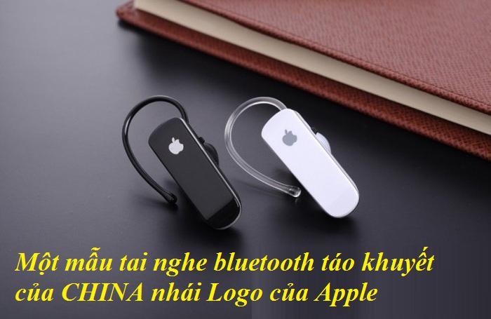 Một mẫu tai nghe bluetooth táo khuyết của CHINA nhái Logo của Apple