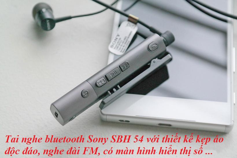 Tai nghe bluetooth Sony SBH 54 với thiết kế kẹp áo độc đáo, nghe đài FM, có màn hình hiển thị số ...