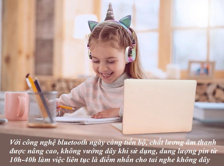Với công nghệ bluetooth ngày càng tiến bộ, chất lương âm thanh được nâng cao, không vướng dây khi sử dụng, dung lượng pin từ 10h-40h làm việc liên tục là điểm nhấn cho tai nghe không dây